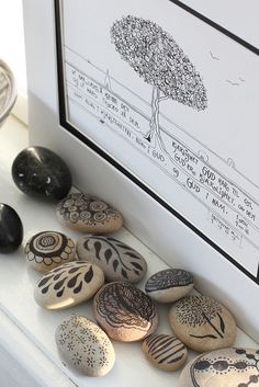 neutrals + black + white | embellished rocks and art, using felt tip pen | by an-magritt