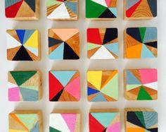 Originele moderne abstracte schilderkunst hout blok Sculpture - commerciële kunst installatie - d. Elizabeth Studios
