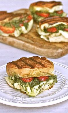 Grilled chicken pesto sliders.
