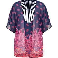 maurices Chiffon Kimono With Lattice Back found on Polyvore featuring polyvore, fashion, clothing, intimates, robes, multi, patterned robes, maurices, kimono robe and print kimono