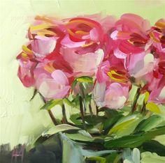 """Pink Roses in Vase no. 6 Painting"" - Original Fine Art for Sale - © Angela Moulton"