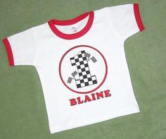 Race Car Birthday Shirt Checkered Flags Motif by ReadySetCreate, $21.00
