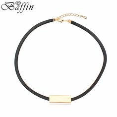 >> Click to Buy << New Arrival wholesale elegant Fashion women Long Black Leather Rope Gold Tube False choker Collar Necklace women collier Bijoux #Affiliate