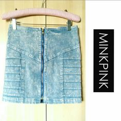 MINKPINK Denim Acid Wash Jeans Mini Skirt S MINKPINK Light Blue Acid Washed Denim Skirt. Cute little mini with a zipper down the middle and ribbing on the hips to define your shape!   Labeled a US size Small ( S ). Fits true to size. Worn once to an art opening. MINKPINK Skirts Mini