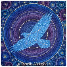 Aquila Eagle Constellation Mandala Painting by Elspeth McLean