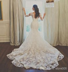 Wholesale Wedding Dresses - Buy 2014 Amazing White Vintage Lace Long Sleeve Mermaid Chapel Train Bridal Wedding Dresses W2549, $245.0 | DHgate
