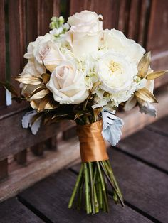 Wedding Bouquets 20 Romantic White Wedding Bouquet Ideas–White and Gold Bouquet - There are a ton of white blooms to choose from—here are our favorites. Gold Bouquet, Gold Wedding Bouquets, Bride Bouquets, Bridesmaid Bouquet, Rose Gold Bridesmaid, Wedding Dresses, Bridesmaids, Prom Flowers, White Wedding Flowers