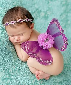 Look at this The Tiny Blessings Boutique Purple Butterfly Wings & Rhinestone Headband on #zulily today!