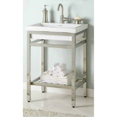 "Empire Industries NSBM21 South Beach 21"" Stainless Steel Console Vanity for Milano Ceramic Sink"