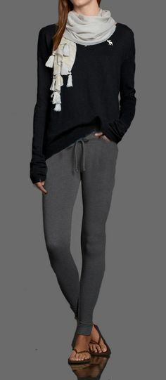 Lazy Sunday Outfit. Super Skinny Sweatpants, paired with a navy Codie Sweater. Throw on a Cute Shine Scarf if you have to go out to the store!