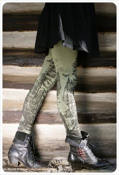Green Forest Leggings - Womens Legging - OLIVE - Tights - tree tights -  SMALL - redwoods - olive - moss - green