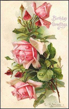 Free Printable - Red Roses/Birthday greetings..