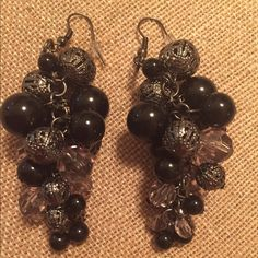 """Black and slate dangled earrings Black, slate and clear beads arranged carefully from top to bottom. These 3"""" handmade earrings are highly textured. Handmade by seller Jewelry Earrings"""