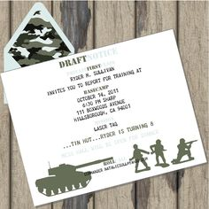 Army Camo Birthday Party Cusomized Invitations For Boys.