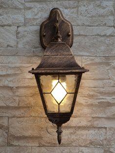 Preciosa Lámpara de Pared / Linterna de Pared / Iluminación Exterior IP43 / Oro Antiguo 8402n: Amazon.es: Hogar