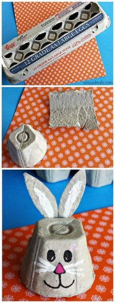 egg carton bunny craft for kids. recycle easter craft for kids to make. Crafts For Kids To Make, Easter Crafts For Kids, Toddler Crafts, Preschool Crafts, Easter Ideas, Kids Diy, Spring Crafts, Holiday Crafts, Egg Carton Crafts