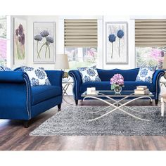 Furniture Of America Othello 2 Piece Sofa Set (Royal Blue)