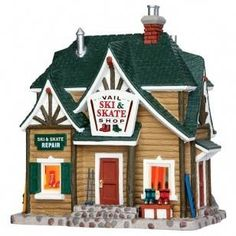 Lemax Village Collection Vail Ski & Skate Shop # Vail Ski & Skate Shop Item # 45692 Features Include: Porcelain lighted building With cord feet) ON / OFF switch Approx. Lemax Christmas Village, Lemax Village, Halloween Village, Christmas Villages, Miniature Christmas, Christmas Home, Christmas Ideas, Christmas Decorations, Light Building