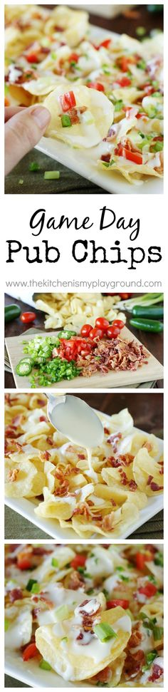 Game Day Pub Chips ~ Warm potato chips loaded with bacon, jalapenos, and beer queso. Pure potato chip deliciousness! ChipLove AD www.thekitchenismyplayground.com