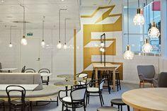 Logo, print, packaging and interior design by Kokoro & Moi and Koko 3 for Helsinki-based Fazer Café. Restaurant Identity, Cafe Branding, Cabinet D Architecture, Interior Architecture, Cafe Design, Store Design, Helsinki, Cafe Interior, Interior And Exterior