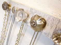 vintage knob jewelry hanger DIY -- started making mine today for my bathroom :)