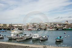 General view of the  artesanal fishing boats area in Peniche port, Portugal. Peniche is  one of the most important Portuguese fishing ports.