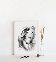 Would you like to add an artistic touch to your home? The nude figure drawings from this collection, with their fluid style and elegant motifs, will upgrade your home decor and add this special touch to your room.#figureart #nudeart #gestureart #artprint #walldecor Figure Drawings, Art Drawings, Cream Art, Boho Bedroom Decor, Gesture Drawing, Feminist Art, Watercolor And Ink, Figurative Art, Line Art