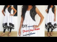 Transform Old Saree To Asymmetric Frock Style Kurti With Attached Koti Cutting And Stitching Diy Fashion, Fashion Dresses, Fashion Design, Chanel Fashion, Cheap Fashion, Fashion 2018, Spring Fashion, Fashion Ideas, Fashion Tips