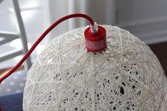 DIY Yarn Ball Light Fixture.