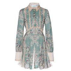 Stella Jean Printed Shirt Dress ($715) ❤ liked on Polyvore featuring dresses, long sleeve shirt dress, long-sleeve shirt dresses, green dress, t-shirt dresses and green shirt dress