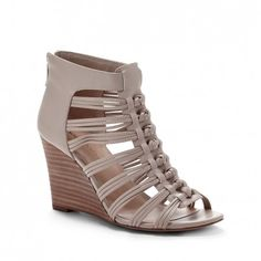 Women's French Taupe Faux Leather 3 1/4 Inch Wedge Sandal | Kimber by Sole Society