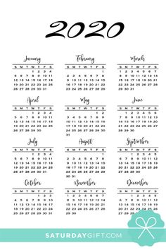 Minimal one page calendar 2019 & 2020 - free printables Daily Planner Printable, Free Printable Calendar, Free Planner, Free Printables, Calendar Templates, Calendar 2019 And 2020, Yearly Calendar, Calendar Pages, Calendar Journal