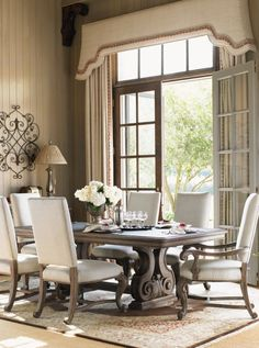 La Tourelle 7 Piece Toulouse Dining Table & Brittany Chair Set by Lexington Home Brands at Becker Furniture World Elegant Dining Room, Dining Room Design, Dining Room Furniture, Dining Room Table, Dining Decor, Dining Rooms, Dining Set, Dining Chairs, Deco Furniture
