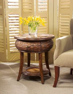 Designer Edge Traditional Leather Round End Table