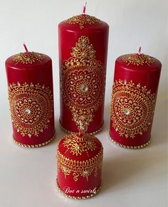 Items similar to Handmade,red/gold Henna Inspired,Candle Set,Perfect for Wedding table decor/Eid decor /wedding centerpiece/wedding candles/Indian wedding on Etsy, Henna Candles, Beeswax Candles, Pillar Candles, Candels, Gold Henna, Wedding Table, Decor Wedding, Wedding Decorations, Indian Wedding Centerpieces