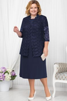 Plus size Dark navy Mother of the bride dress with Lace jacket Classic Women Vestido de madre de la novia de talla grande azul marino oscuro con chaqueta de encaje Classic Women Arabic Dress, Mothers Dresses, Bride Dresses, Braut Make-up, Mom Dress, Lace Jacket, African Fashion Dresses, Custom Dresses, Dress Suits