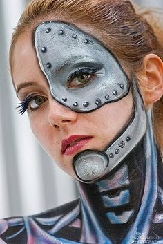 Robotic Girl Face Painting Body Art