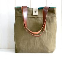ROT PROOF French Messenger bag / Laptop bag tote moss by ikabags, $119.74