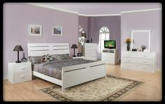 5 Pc. Contemporary Style White Wood Finish Queen Bedroom Set with Matching Handles. This Queen Bedroom Set contains: (1) Queen Bed measures: 89 L x 64 W x 53 H, (1) Dresser measures: 62 L x 12 W x 36 H, (1) Mirror measures: 37 L x 2 W x 41 H, (1) Nig