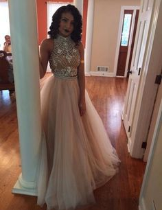 Elegant Two-piece Prom Dress – High Neck Blush Tulle With Beading