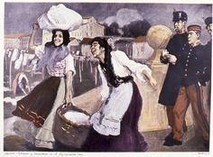 Jesús Evaristo CASARIEGO - Soldados y lavanderas en el Manzanares - 1906 - 50 x 60 cm