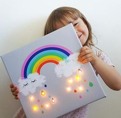 **We present RAINBOW LED wall art and unique kids night light! ** Rainbow lighting will make you smile all day ;-) You can use it as a nursery decor during the day and a lamp during the night. Rainbow wall art print is made on mat polyester canvas and pow Rainbow Nursery, Rainbow Wall, Rainbow Girls Bedroom, Rainbow Room Kids, Rainbow Light, Ciel Art, Marquee Lights, Summer Crafts For Kids, Birthday Gifts For Girls
