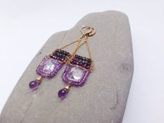 Amethyst labradorite and garnet earrings by KimBloombergDesigns