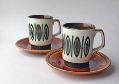 Two Boch Belgium Hand Painted Rambouillet Coffee Cups & Saucers, Villeroy and Boch, Boch noix by gardenfullofVintage on Etsy