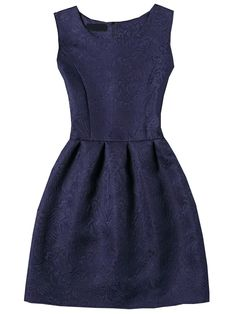Shop Navy Sleeveless Jacquard A-Line Dress online. SheIn offers Navy Sleeveless Jacquard A-Line Dress & more to fit your fashionable needs.