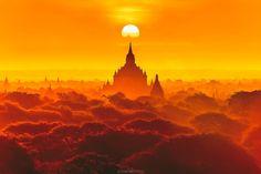Dramatic sunrise at Bangan, Myanmar. by Tawan Chaisom
