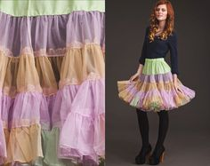 Vintage CRINOLINE Color Block Teired 50s 60s by StoreyThreads, $62.00