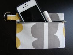 Keychain Wallet in Grey and Yellow Lotta by stitch248 on Etsy, $12.00