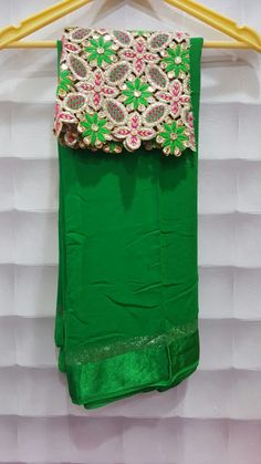Pure georggete sareees with satin border with designer and plain blouse | Elegant Fashion Wear