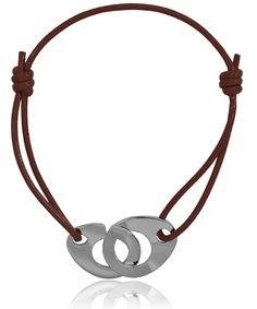 Bracelet cuir marron menotte - Di-Angelo